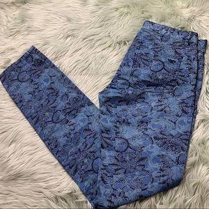 Tory Burch NWT Blue Pattern Ivy Super Skinny Jean